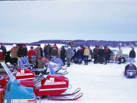 Snowmobiles lined up to race in Egg Harbor in 1960s.